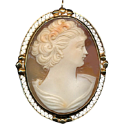 Art Deco Era 14K Carved Cameo Pin Pendant - She's Lovely