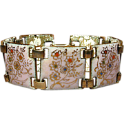 1950s Hand-Painted Flowers on Pink Enamel Bracelet