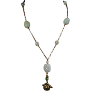 Vintage Nephrite Jade & Silver Necklace w/ Carved Beads & Seed of Life