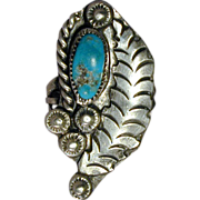 Navajo Sterling Silver Turquoise Ring w/ Big Feather