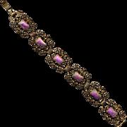 Vintage JUDY LEE Bracelet w/ Carnival Glass Stones
