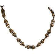 Mexican LATON Wrapped Sterling Silver Link Necklace