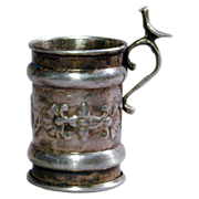 Old Silver-Plated Mini Tankard Stein Cup Embossed
