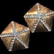 Vintage Donald Stannard Rhinestone Star Earrings