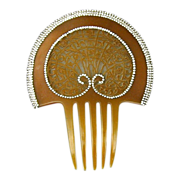 Spectacular Art Nouveau Celluloid Rhinestone Hair Comb Big & Wide