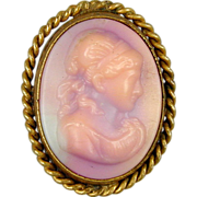 Victorian Hardstone Carved Cameo Pin Brooch