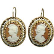 Vintage 14K Gold Carved Shell Cameo Earrings - Art Deco Era