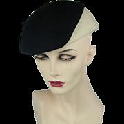 Vintage 1950s Frank Olive Black-on-White Sassy Hat