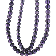 Vintage Double Strand Faceted Amethyst Bead Necklace Silver Clasp