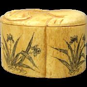 Vintage Asian Carved Bone Trinket Box w/ Cats - Foliate - Signed