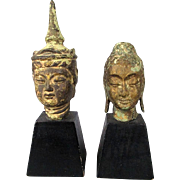 Pair of Old Chinese Bronze Busts Male Female Deities Buddhist