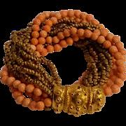 Kenneth Lane KJL bracelet  glass coral  beads 12 strand