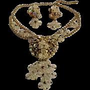 Bleeding heart ab rhinestone white carnival art glass bead set necklace earrings