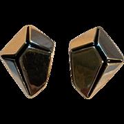 Kunio Matsumoto Trifari Modernist earrings black enamel silver tone