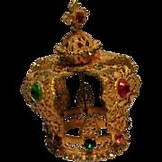 Vintage Infant of Prague jeweled statue crown gilt filigree