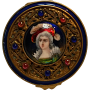 Jeweled French portrait compact enamel on copper