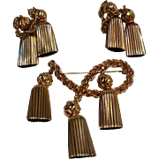 Napier pin and clip earrings rope and tassel motif