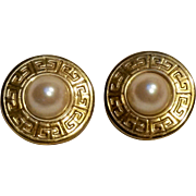 Givenchy earrings simulated pearl cabochon