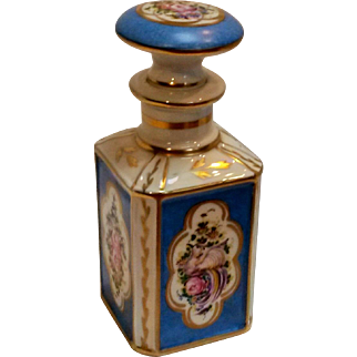 Antique French porcelain cologne vanity bottle hand painted bird roses