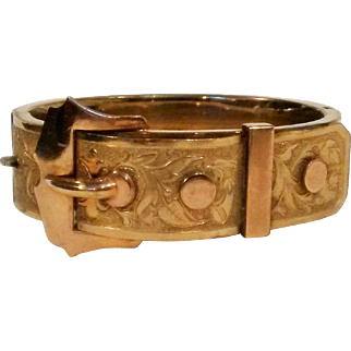 Victorian gold filled hinged bangle Bates & Bacon buckle motif