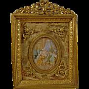 19th Century Miniature Painting in Gilt Bronze Ormolu Frame  French Opéra Bouffe Boudoir Scene