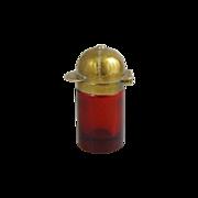 Antique Victorian Ruby Glass Perfume Bottle Jockey Cap Lid