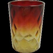 Victorian Glass Amberina Glass Tumbler Diamond Optic
