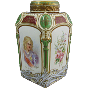 19th Century French Sevres Style Porcelain Napoleon Tea Caddy Roi deRome