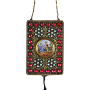 French Gilt Bronze & Enamel Cosmetic Vanity Purse with Glass Jewels