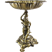 Baroque Figural Gilt Plated Metal Center Bowl Compote
