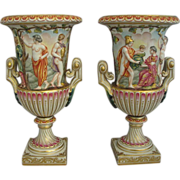 Capodimonte Polychrome Enamel Campana Form Porcelain Urns