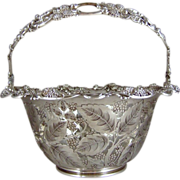 Tiffany & Co   Sterling Silver Reticulated Handled Basket in the Raspberry Pattern Circa 1902