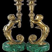 19th Century French Figural Ormolu Bronze and Malachite Candlesticks