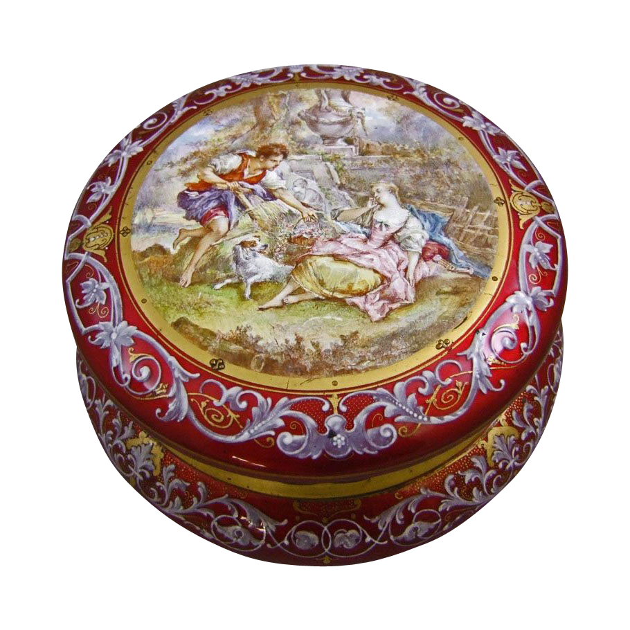 Antique 19th Century French Gilt Bronze & Red Enamel Jewel Casket Enameled with a 18th Century Courting Couple in a Garden with Dog