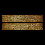 Tiffany Studios New York Gold Dore Bronze Blotter Ends Zodiac Pattern 994