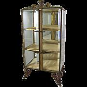 Antique Continental Ormolu & Beveled Glass Casket Miniature Vitrine Display Cabinet