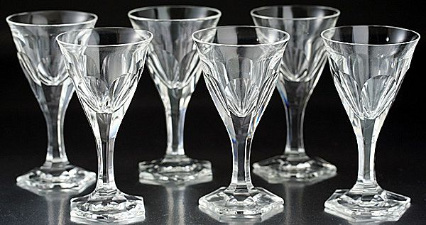 Set of Six Moser Pope Cut Crystal Liqueur Cordial Glasses