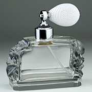 c.1930s Art Deco Crystal Dressing Table Scent Perfume Spray Atomizer with Relief Moulded Decoration, Probably Schlevogt