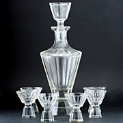 c.1930s Deco Clear Crystal Decanter & Glasses Set