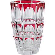 c.1950s Val St. Lambert Cranberry Overlay Crystal Vase