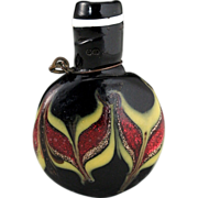 c.1890 Miniature Venetian Black Glass Scent Perfume Bottle