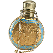 c.1890 Blue Opaline & Gilt Glass Scent Perfume Bottle
