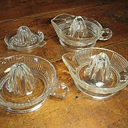 Grandma's Set of Four Vintage Glass Juicers