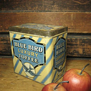 SALE Superb Old 'Blue Bird Luxury Toffee' Candy Tin ~ Made In England – Great Graphics