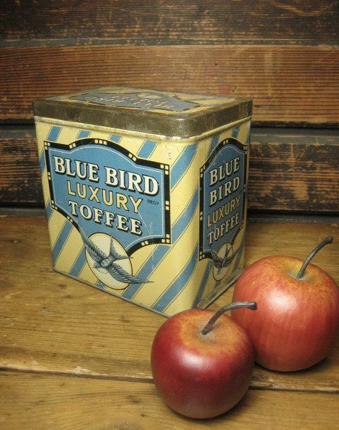 Superb Old 'Blue Bird Luxury Toffee' Candy Tin ~ Made In England – Great Graphics