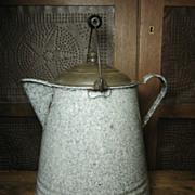 Grandma's Favorite Old Large Farmhouse Kitchen Speckled Graniteware Coffee Boiler