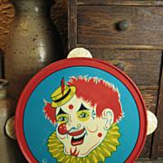 Child's Tin Toy Tambourine – Clown Decoration