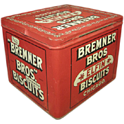 Fabulous Old Vintage Bremner Bros. Elfin Biscuits Tin Advertising Box - Hinged Lid - Excellent Condition