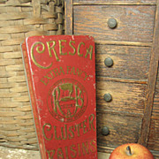 Very Unusual Old CRESCA Cluster Raisins Advertising Tin – France, Spain, New York – Coffin Shaped, Hinged Lid