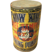 Early Old Little Trial Size Free Sample SNOW KING Baking Powder Tin – Paper Label Advertising